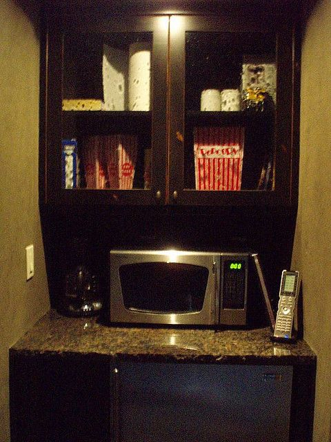 DIY Media Room Home Theater Snack Bar - The snack bar is 2 IKEA kitchen  cabinets and a 15