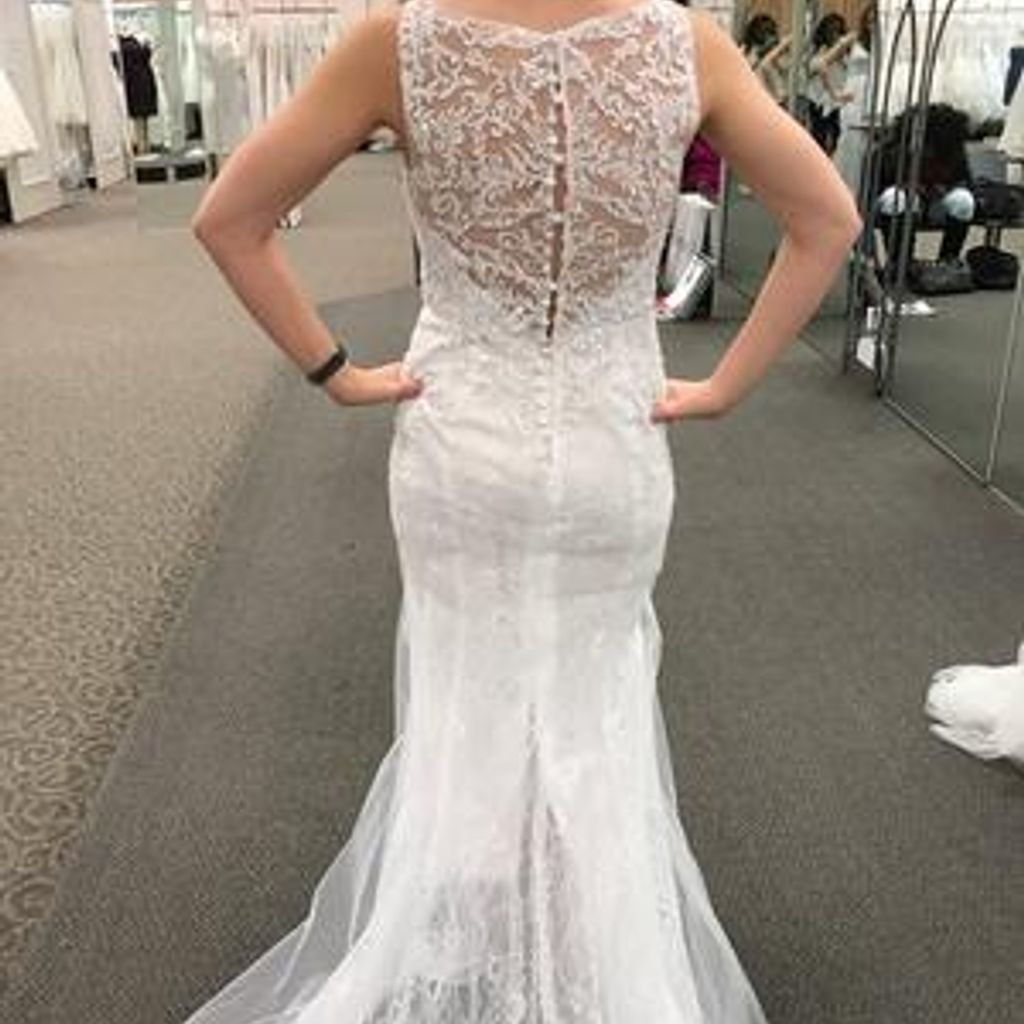 David S Bridal Wedding Gown Preservation: Lace Sheath Gown With V Neckline