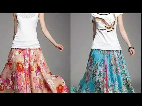 850c80b5304678 Silk skirts dresses designs girls latest long hot skirt crop tops blouse  fashion - YouTube