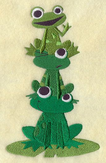 FROGS LEAP SET OF 2 HAND TOWELS EMBROIDERED