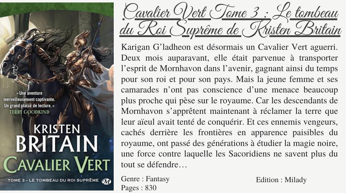 Cavalier Vert T3 Le Tombeau Du Roi Supreme De Kristen Britain Les Univers Paralleles De Millina Tombeau Cavaliere Univers Parallele