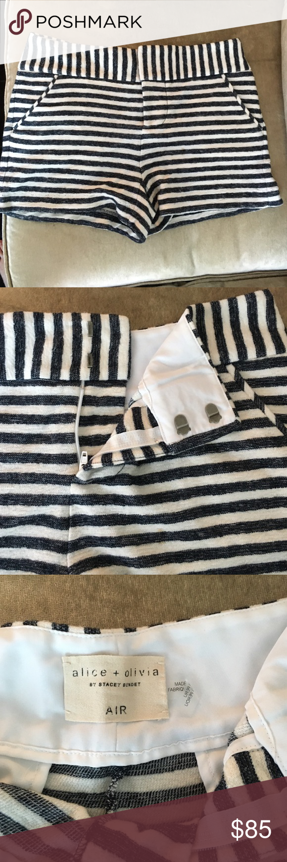 Alice and Olivia terry cloth shorts size 4 Never worn. Terry cloth and horizontal and diagonal striped. Pockets. Never worn. Tags off. Alice + Olivia Shorts