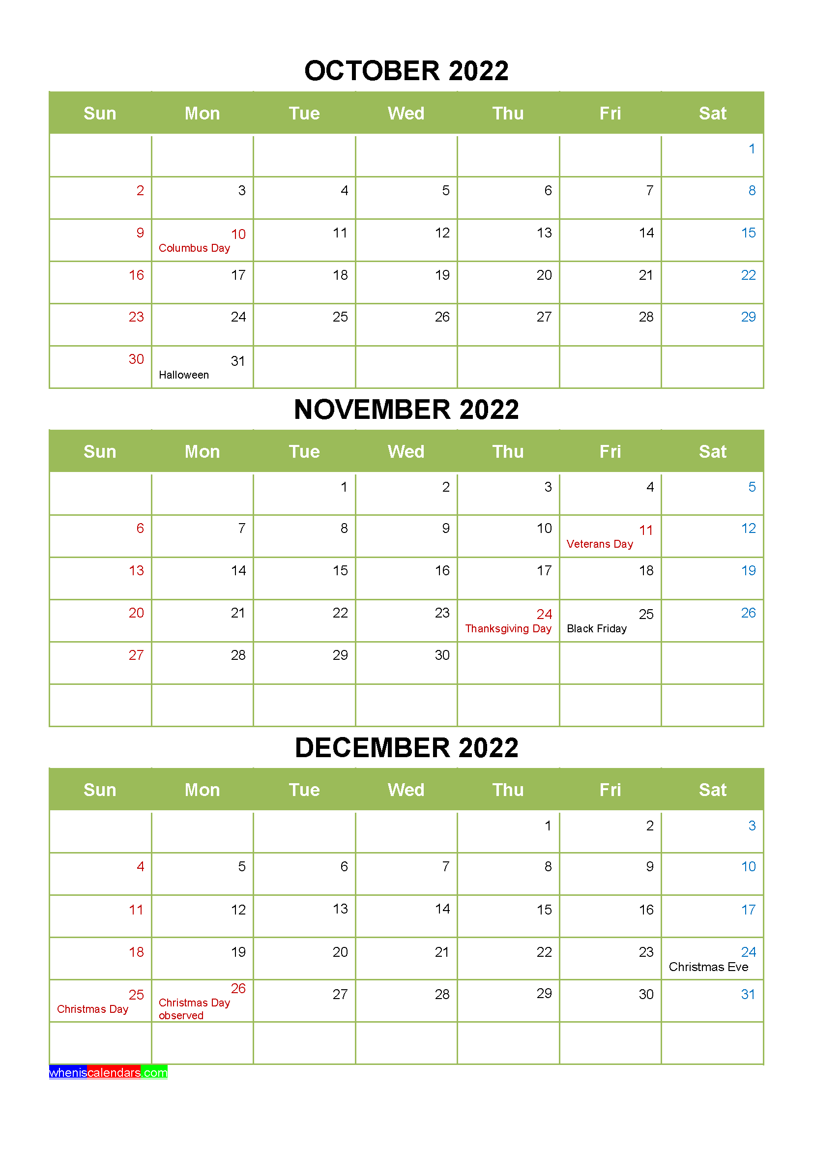 Printable October November December 2022 Calendar With Holidays Four Quarters In 2020 January February March Holiday Printables Printables