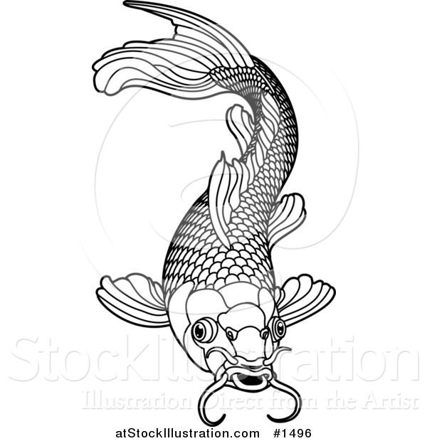 Black and white koi fish drawings google search school for Black and white coy fish