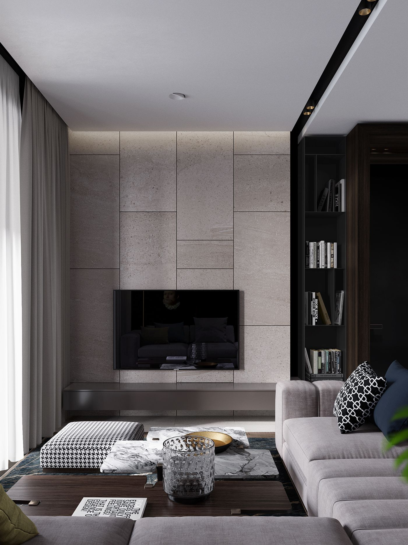 Dark Apartment For Light Pair On Behance Cute Living Room Small Apartment Bedrooms Classy Living Room Living room aesthetic dark