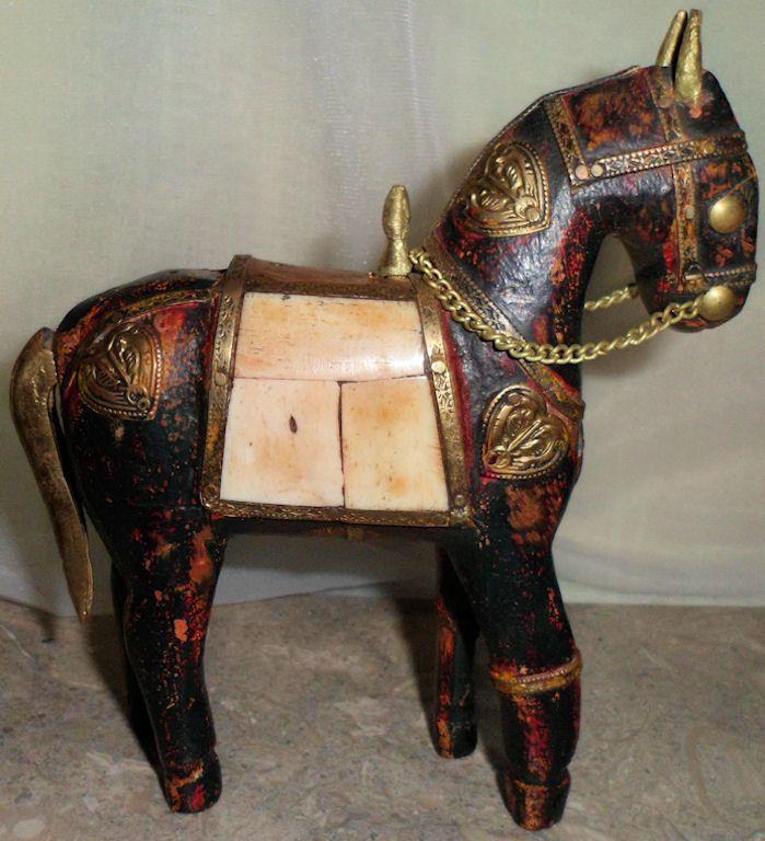 Antique Bone & Brass Carved Wood War Horse Folk Art