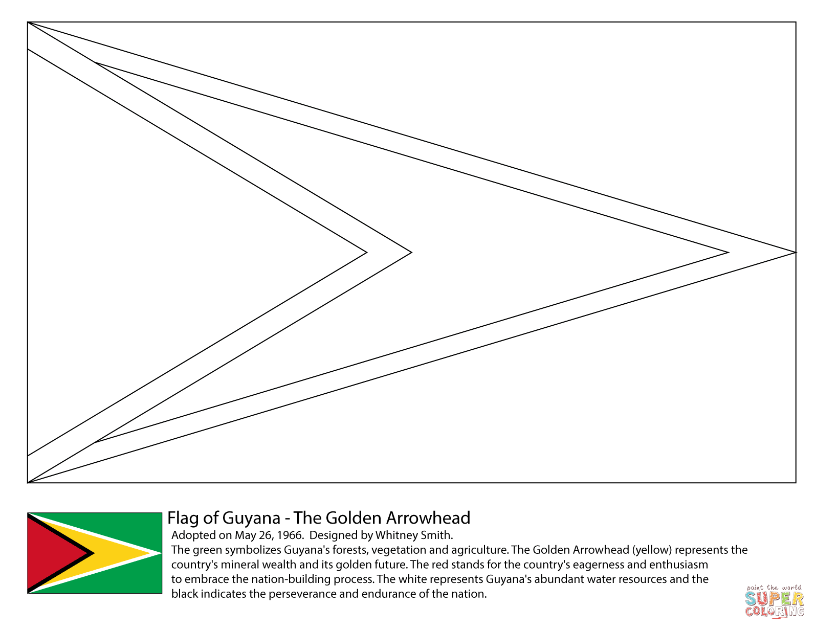 Guyana Flag Coloring Page Free Printable Coloring Pages Flag