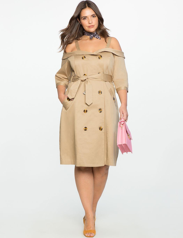 Studio Off the Shoulder Trench Dress | Women\'s Plus Size Dresses ...