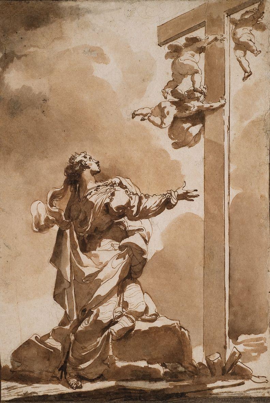 Ubaldo Gandolfi (1728-1781), The vision of Saint Helena | La vision de sainte Hélène, Plume et encre brune, lavis brun