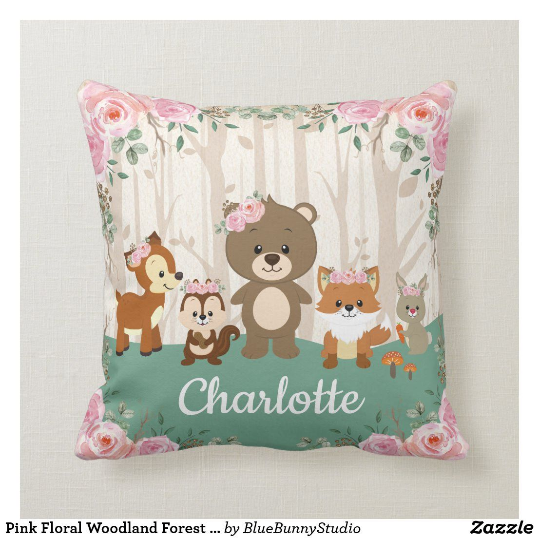 Pink Floral Woodland Forest Animals Nursery Throw Pillow