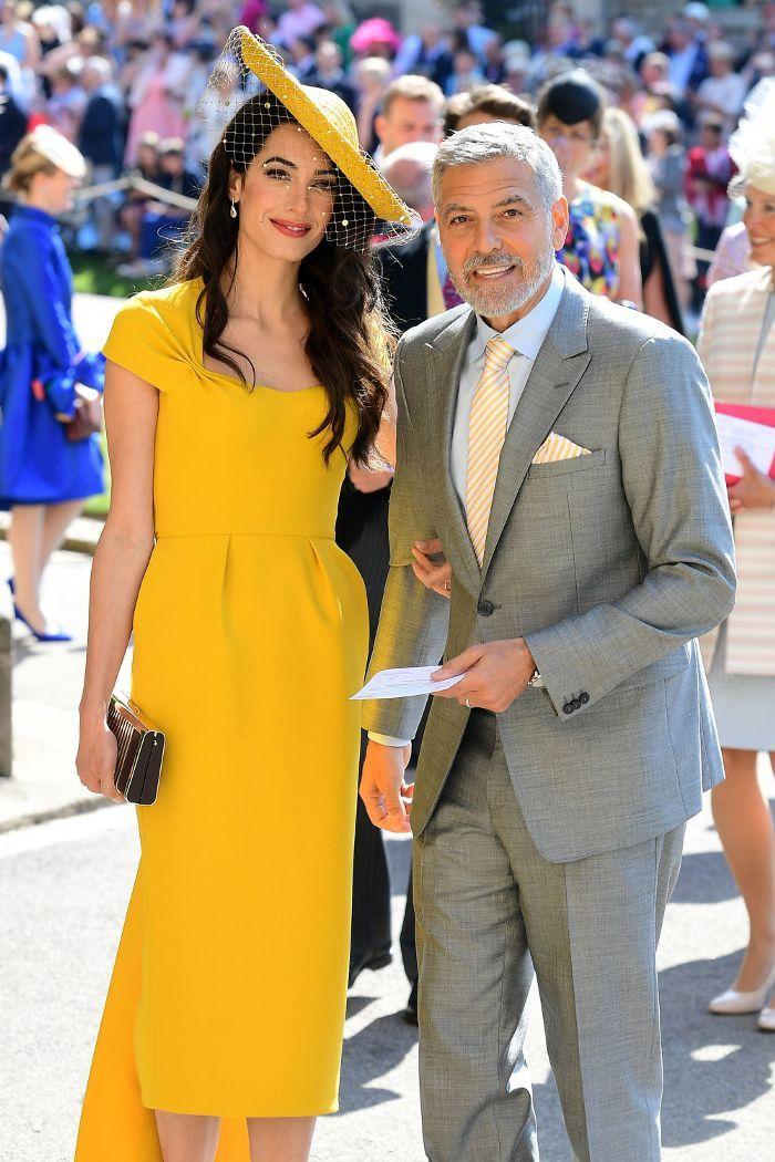 Amal Clooney Wore a Stunning Yellow Dress to the Royal Wedding ... 9cb29fce9df