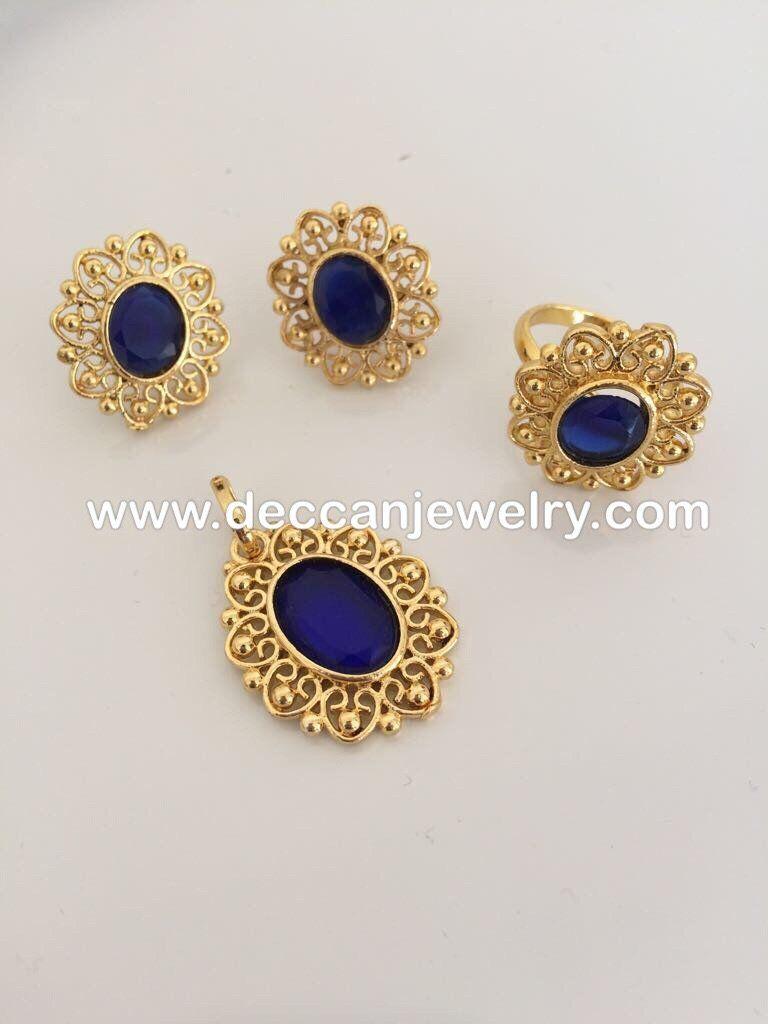 Sajal faux sapphire pendant earrings and finger ring set pinterest