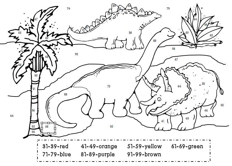 Dino Color By Numbers Thema Dinosaurus Lesideeen