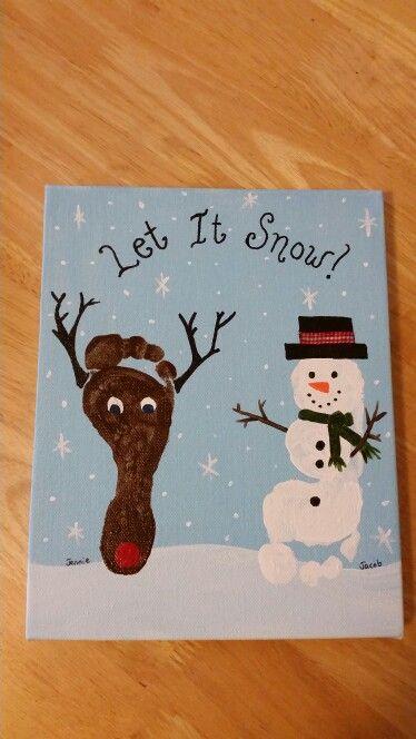 Snowman And Reindeer Feet On A Canvas Christmas Crafts For Toddlers Easy Christmas Crafts For Toddlers Baby Christmas Crafts