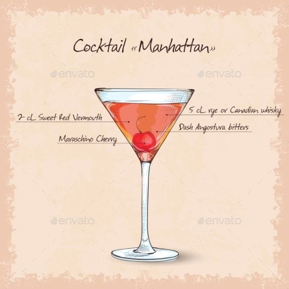 Cocktail Manhattan Sketch Manhattan Cocktail Cocktails Manhattan Drink