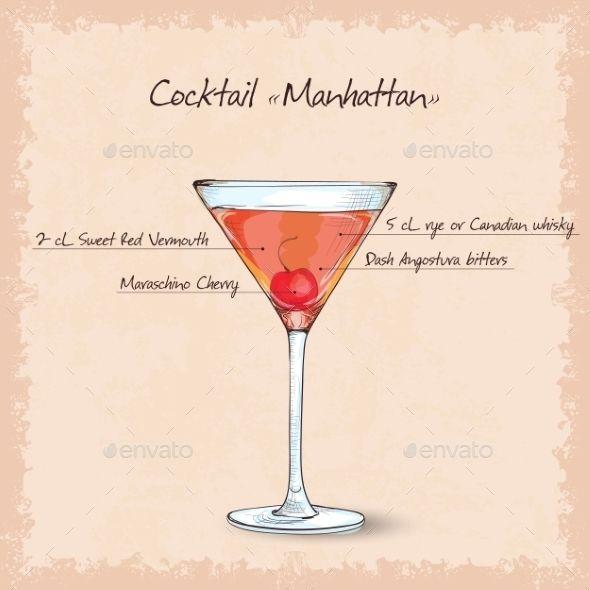 Cocktail Manhattan Sketch Manhattan Cocktail Cocktails Manhattan Drink