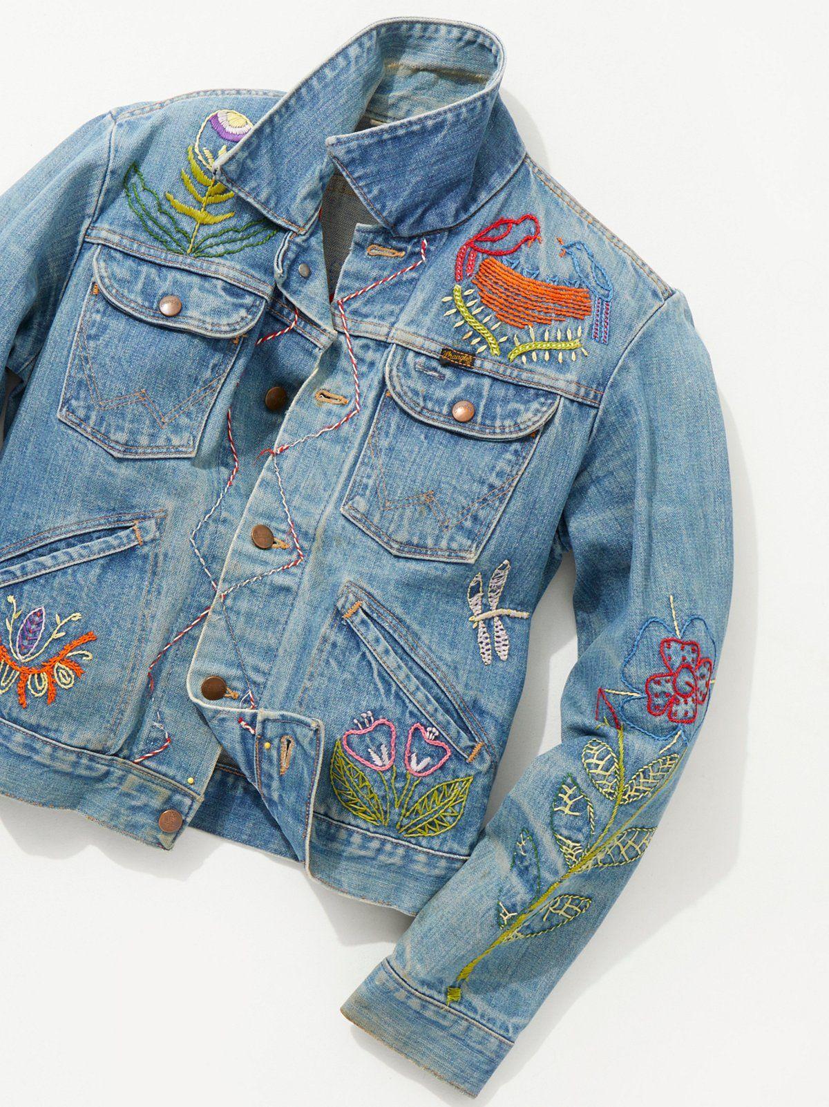 Vintage 1970s Hand Embroidered Denim Jacket | Embroidered denim jacket, Embroidered  denim jacket vintage, Vintage denim jacket