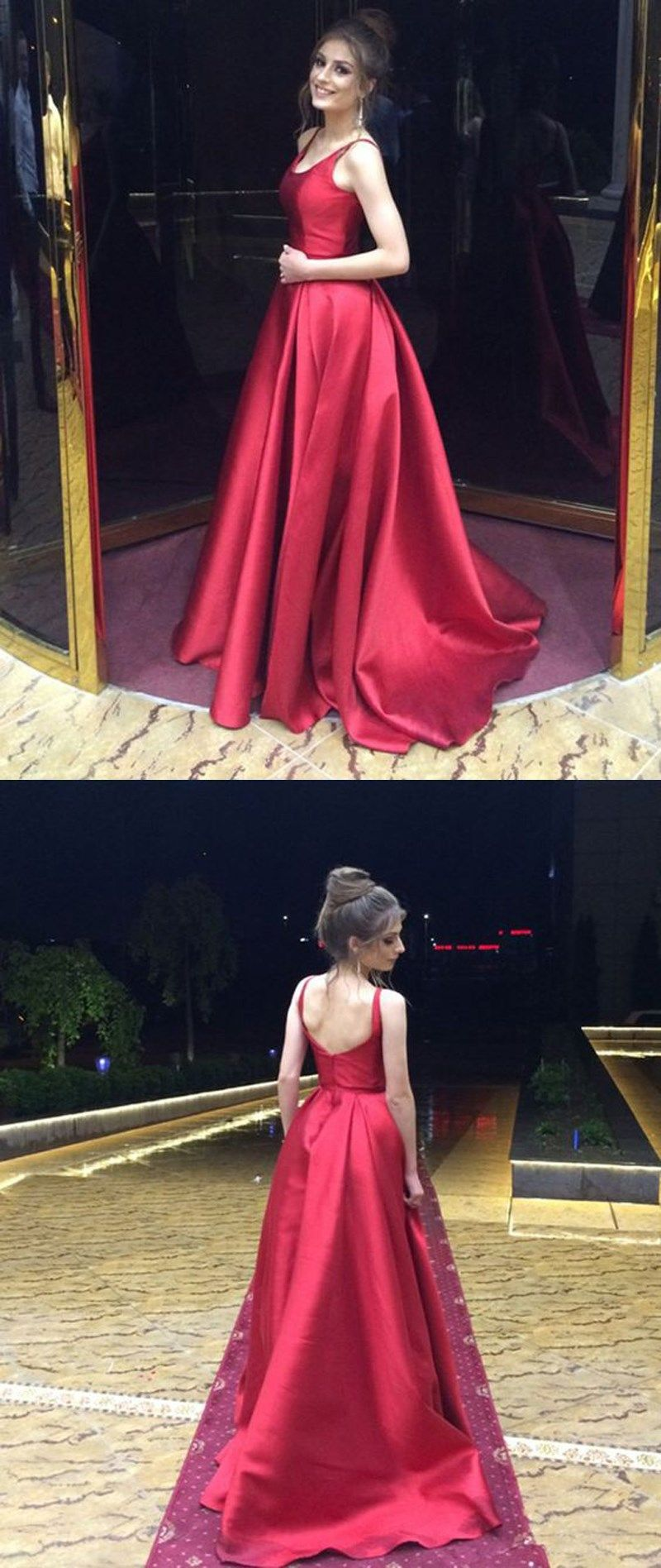 Simple satin backless prom party dresses long 年月日