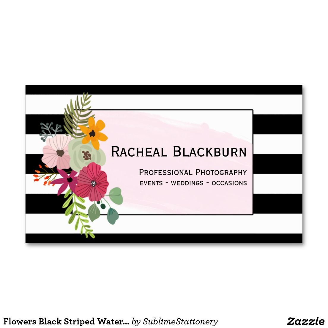 Flowers black striped watercolor photography business card flowers black striped watercolor photography business card reheart Choice Image