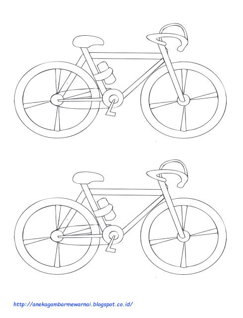 Cara Menggambar Sepeda : menggambar, sepeda, Mewarnai, Sepeda, Ontel, Gambar, Putih