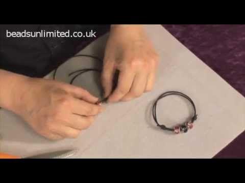 Leather cording - how to make adjustable ties #handmade #jewelry #bracelet #knotting