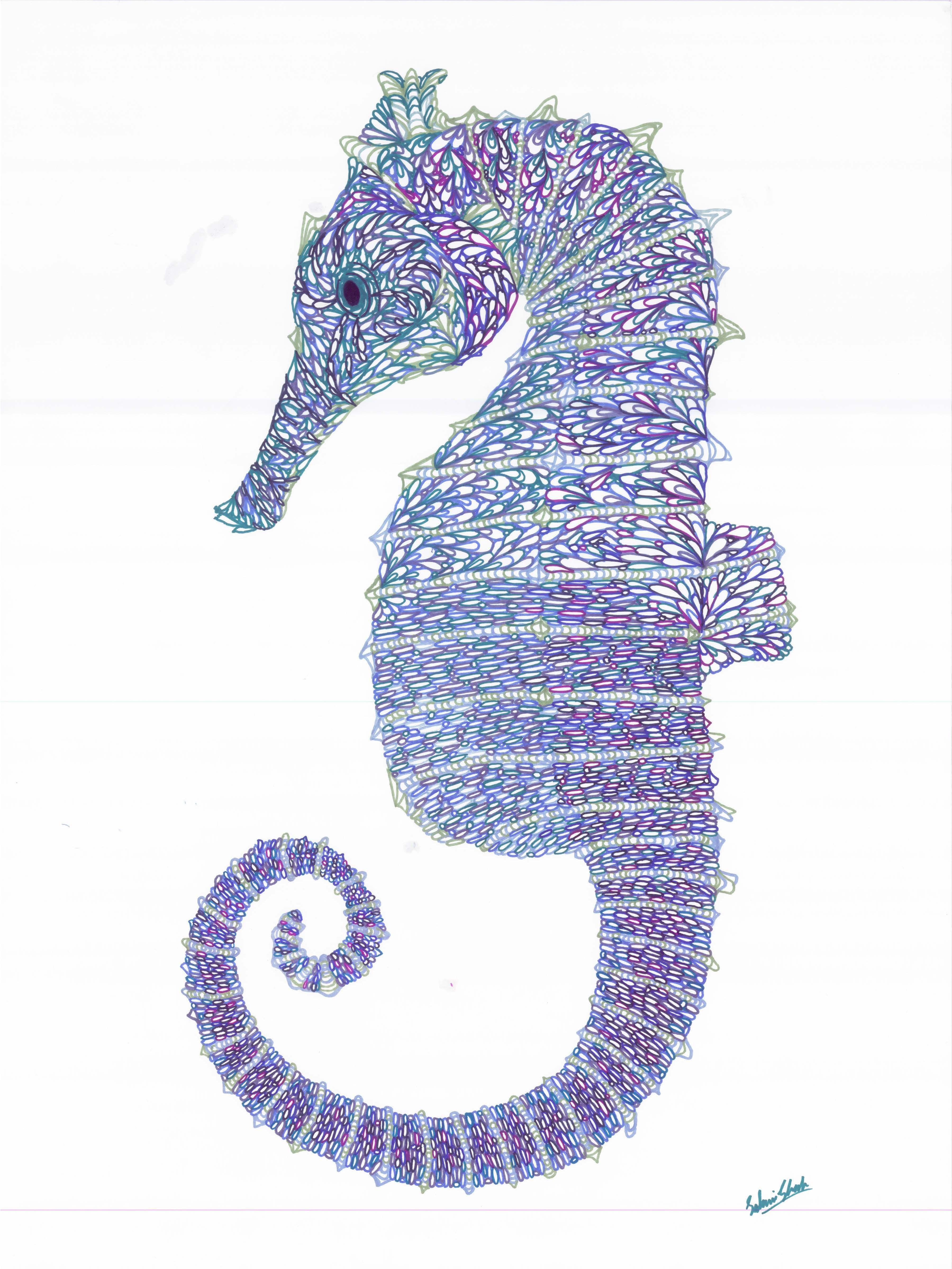 seahorse art | SGArtistry | Seahorse Illustration Print - 8.5 x 11 ...
