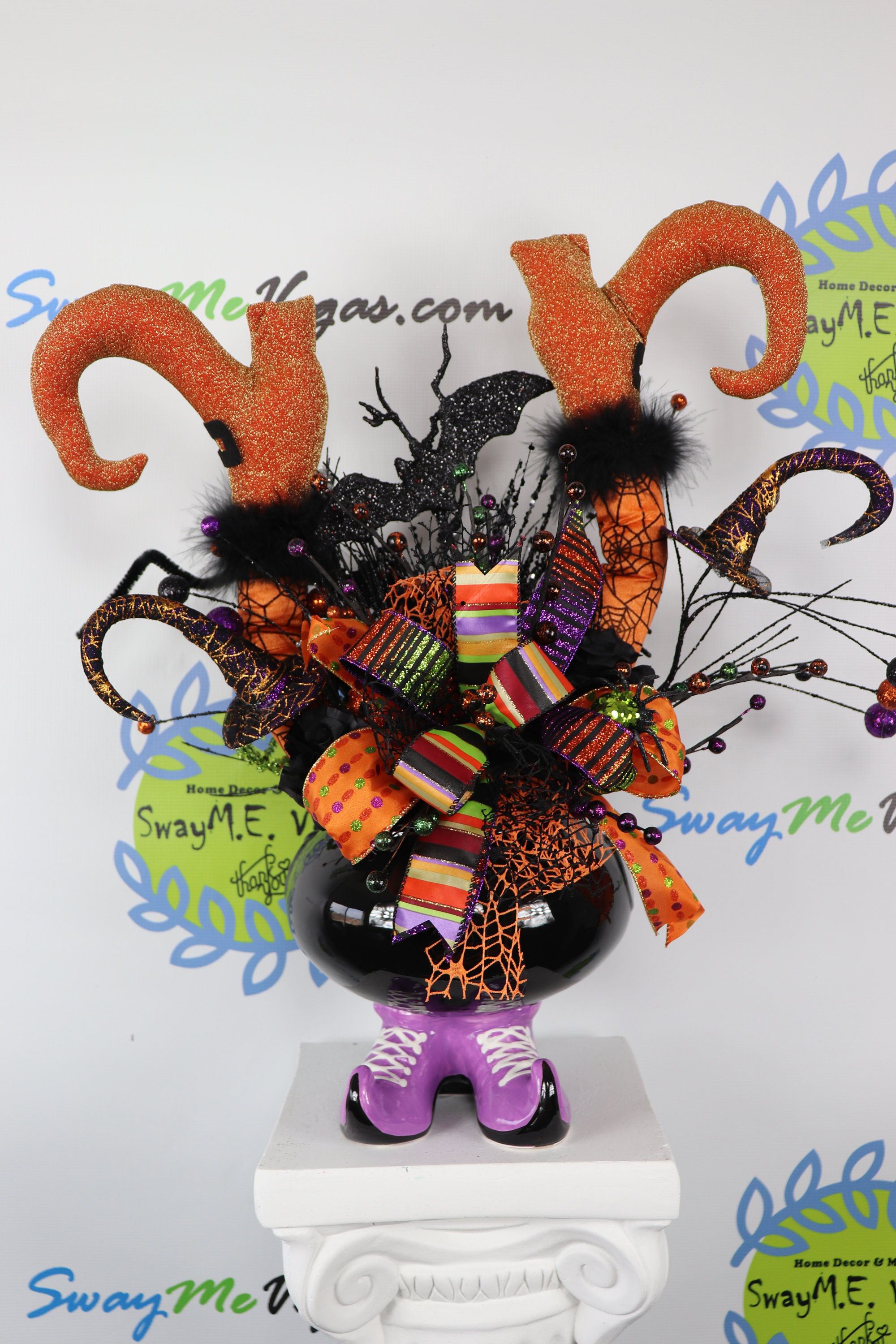 Halloween Witch Cauldron Orange Centerpiece, Whimsical Halloween - Whimsical Halloween Decorations