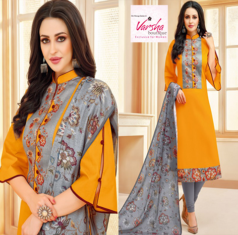 Boutique with digital printed panel at the yoke enhanced by printed lace at the border and a similar printed cotton dupatta both in grey color To Buy this Perfect outfit...
