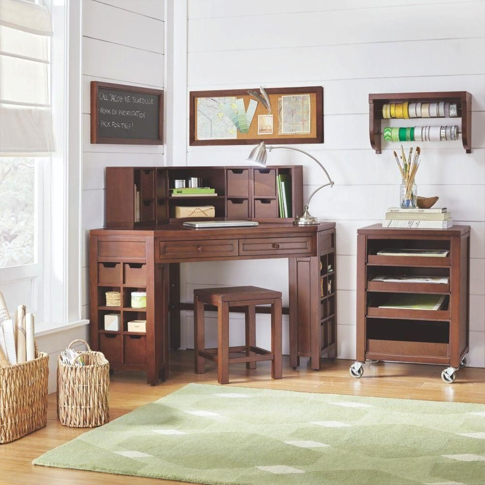 Martha Stewart Living Craft Space 2 Drawer Open Cubby Corner Craft Table In  Sequoia 0795200960   The Home Depot