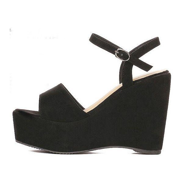 Black Suede Ankle Strap Wedges Sandals (2.620 RUB) ❤ liked on Polyvore featuring shoes, sandals, black sandals, peep toe sandals, vintage platform sandals, mid heel wedge sandals and platform wedge sandals