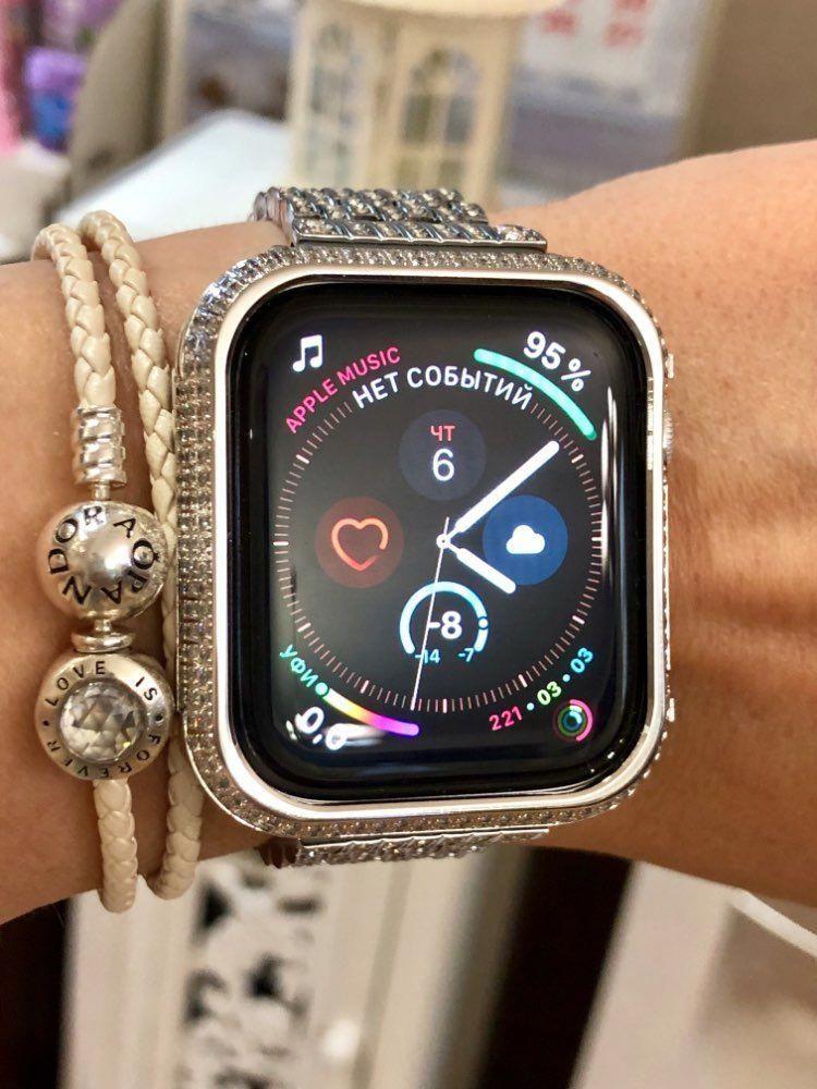 apple watch silver case diamonds rose gold, cover, bezel