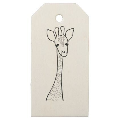 Simple Giraffe Wooden Gift Tags - love gifts cyo personalize diy