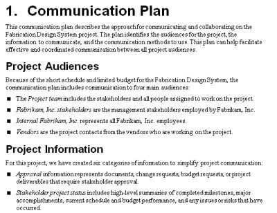 The Project Communication Plan  My Work    Proposal