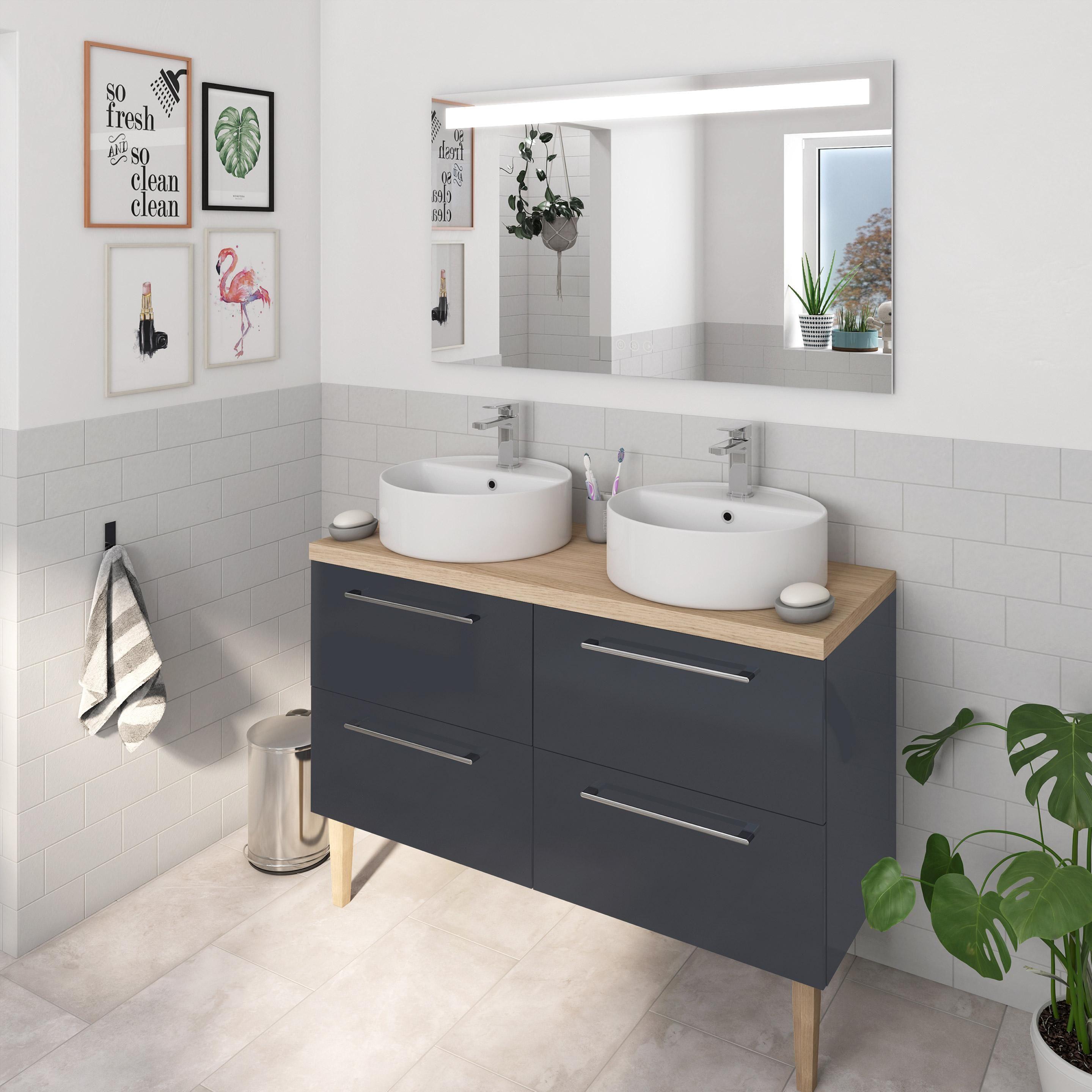 Meuble Double Vasque L 120 X H 58 X P 48 Cm Gris Remix En 2020 Meuble Double Vasque Meuble Sous Vasque Ikea Meuble Vasque Salle De Bain Ikea