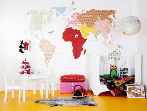 Cool And Colorful World Map Wall Stickers Decals For Modern Kids Bedroom Decorating Design Ideas