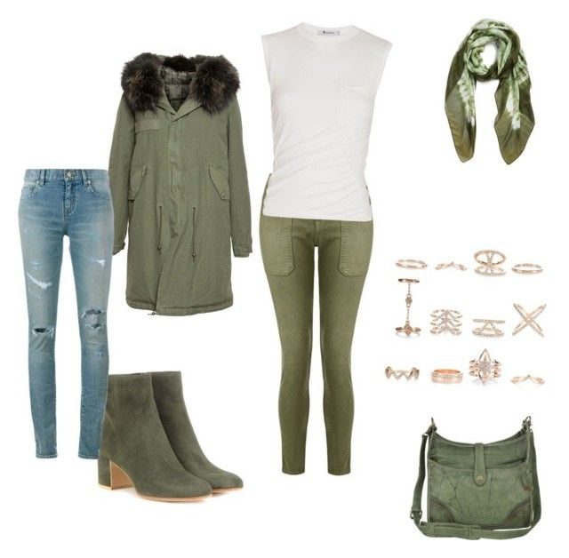 """""""me going into the cold"""" by kaylabeautyful ❤ liked on Polyvore featuring Mr & Mrs Italy, Current/Elliott, Alexander Wang, Gianvito Rossi, La Fiorentina, New Look, Frye and Yves Saint Laurent"""