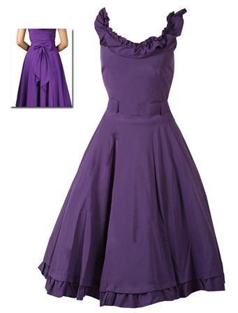 Purple Ruffle Dress - Rockabilly Clothing - Shop for Rockabillies and Rockabellas