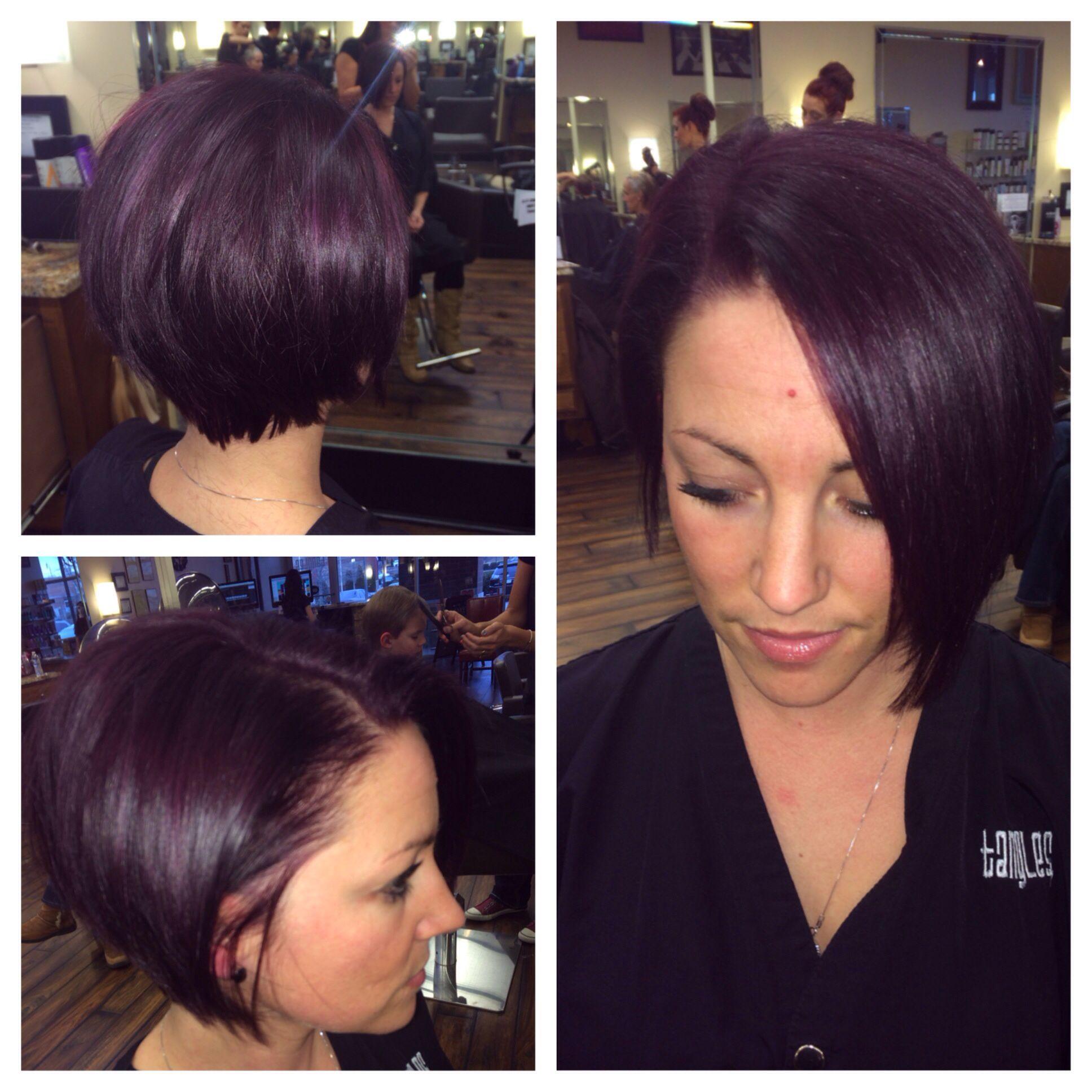Plum short hair by Ashley Chastain Hairstylist(fb)  Hair color