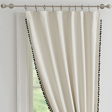 Pottery Barn Teen Curtains & Drapes – The Emily And Meritt Pom Pom Blackout Drape, 108″