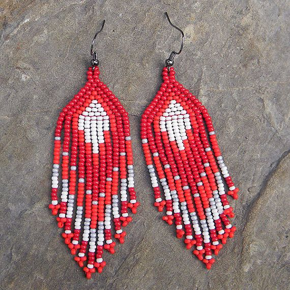 Red Native American Style Seed Bead Earrings - beaded ...