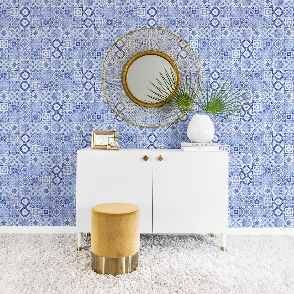 Light blue Moroccan tiles removable wallpaper Large wall