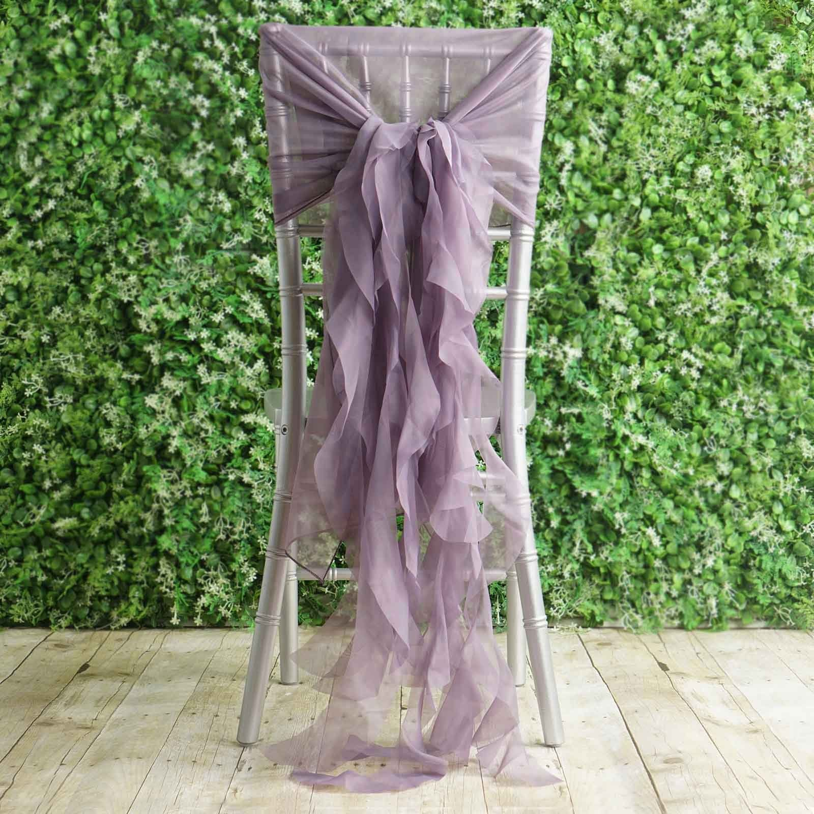 1 Set Amethyst Violet Chiffon Hoods With Curly Willow