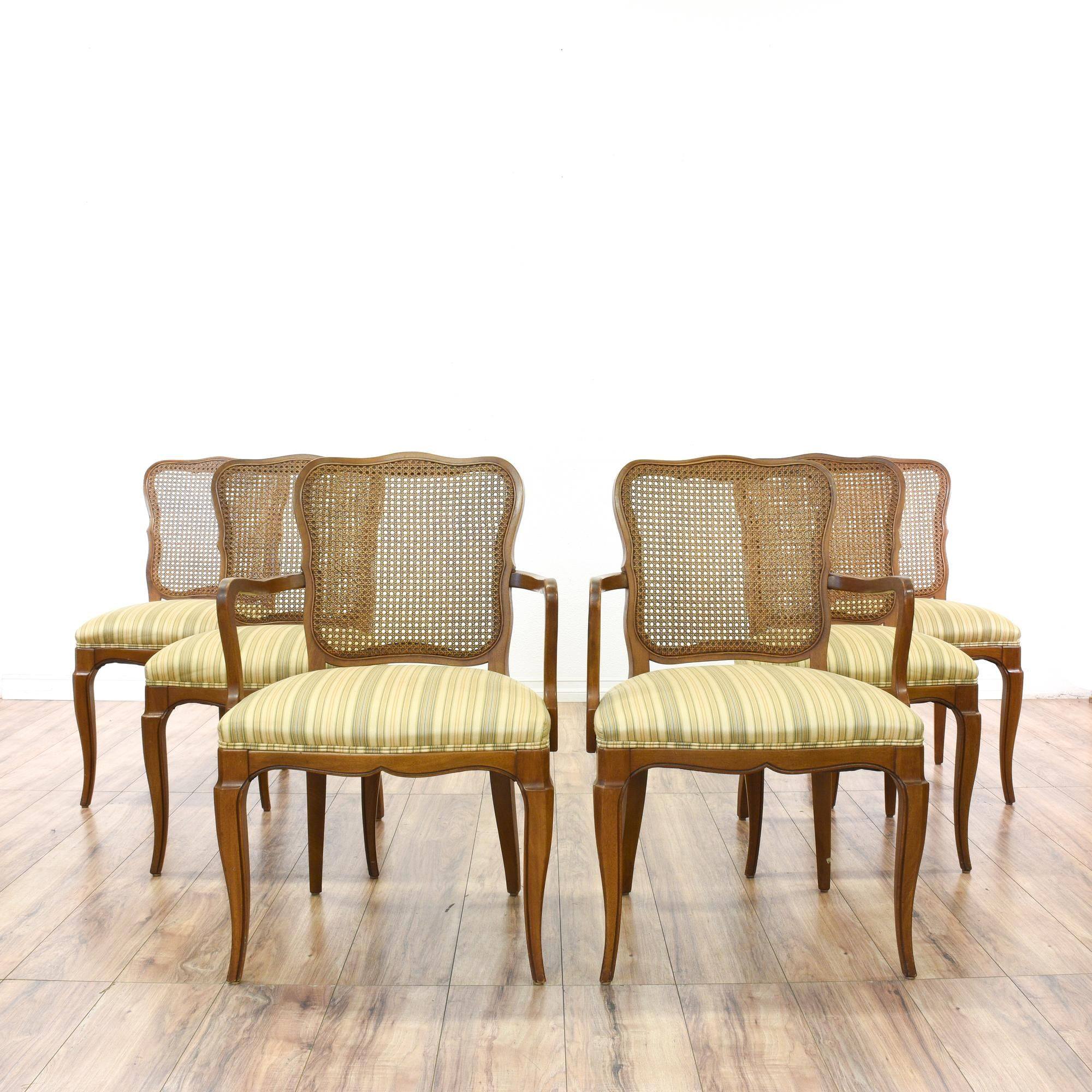 Set Of 6 R Way Striped Upholstered Dining Chairs