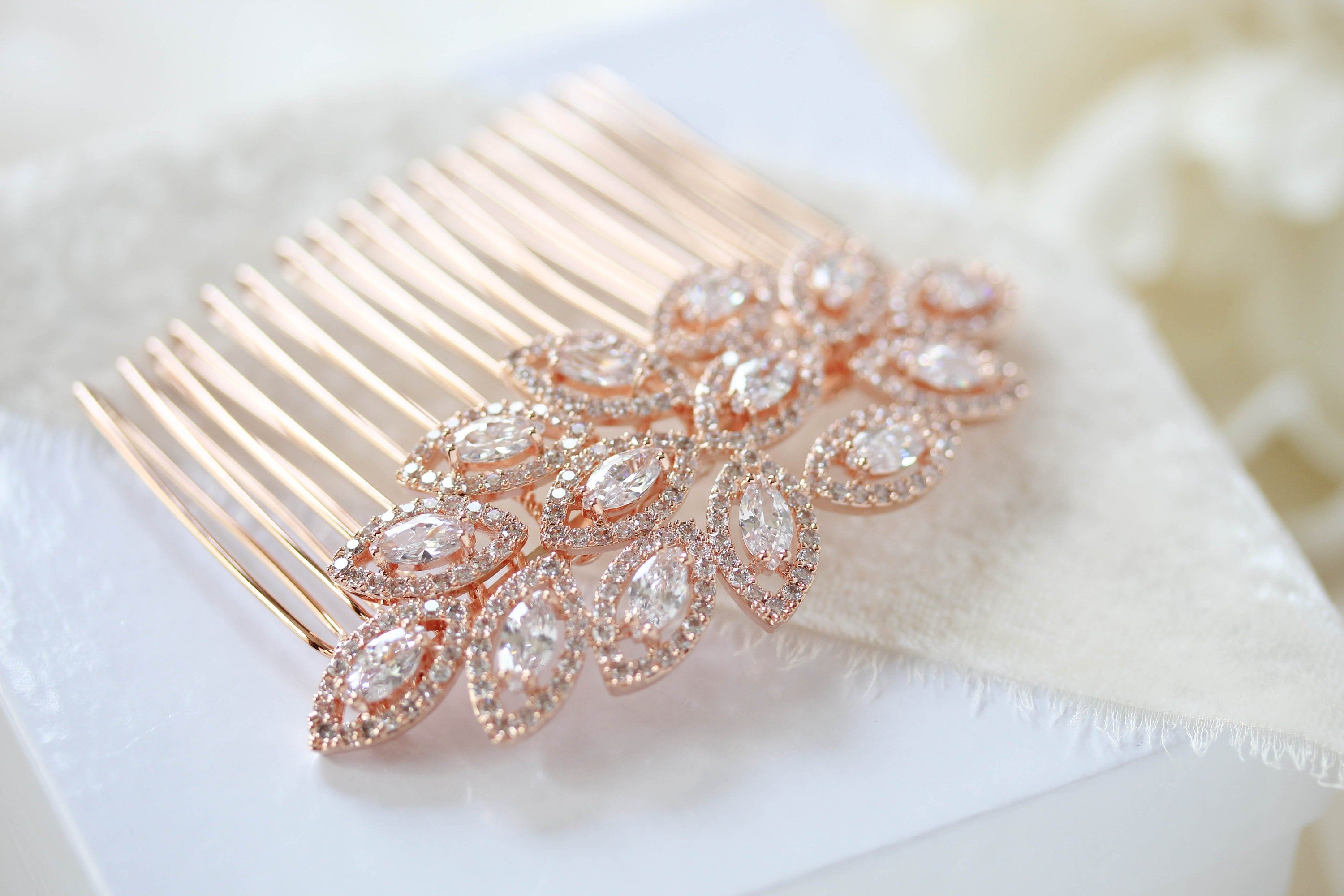 Rose Gold Hair Comb Rose Gold Wedding Headpiece Crystal Leaf Etsy In 2020 Rose Gold Hair Accessories Rose Gold Hair Comb Rose Gold Wedding Headpiece
