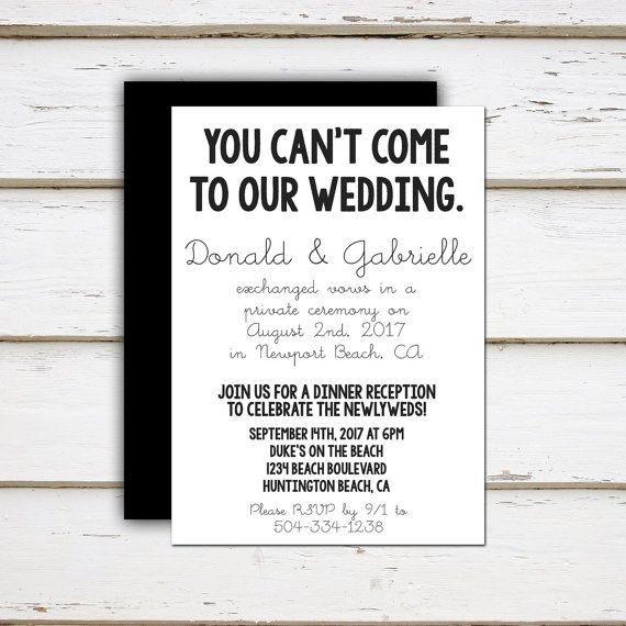 Leah Printable Elopement Reception by MellieBellieBoutique My - invitation wording for elopement party