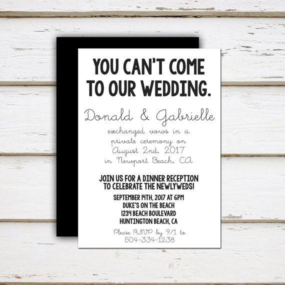 Wedding Elopement Ideas: Printable Elopement Reception Invitation, We Got Hitched