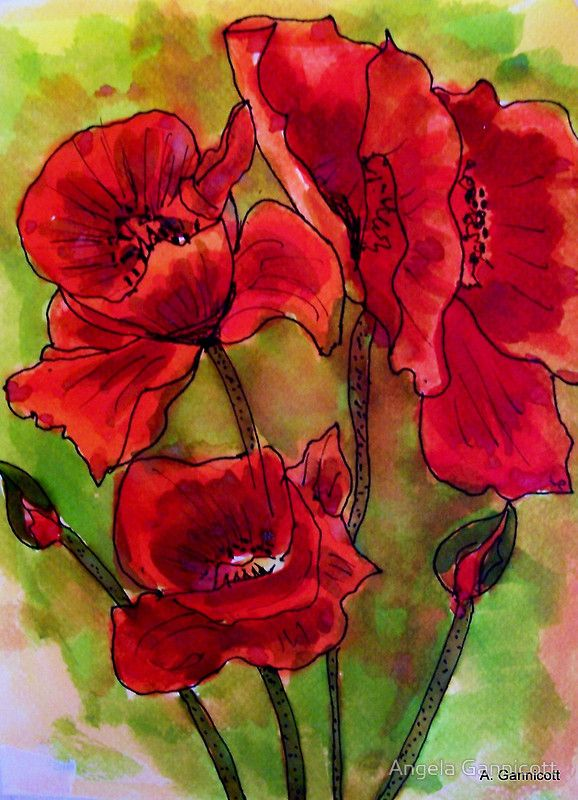 """Poppy Glory"" Greeting Card by artist Angela Gannicott.  This beautiful painting was produced using watercolors and ink on paper.  A wonderful greeting card!"