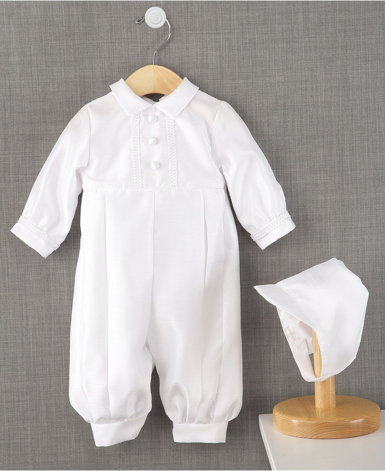 Lauren Madison Full Length Christening Romper with Matching Hat