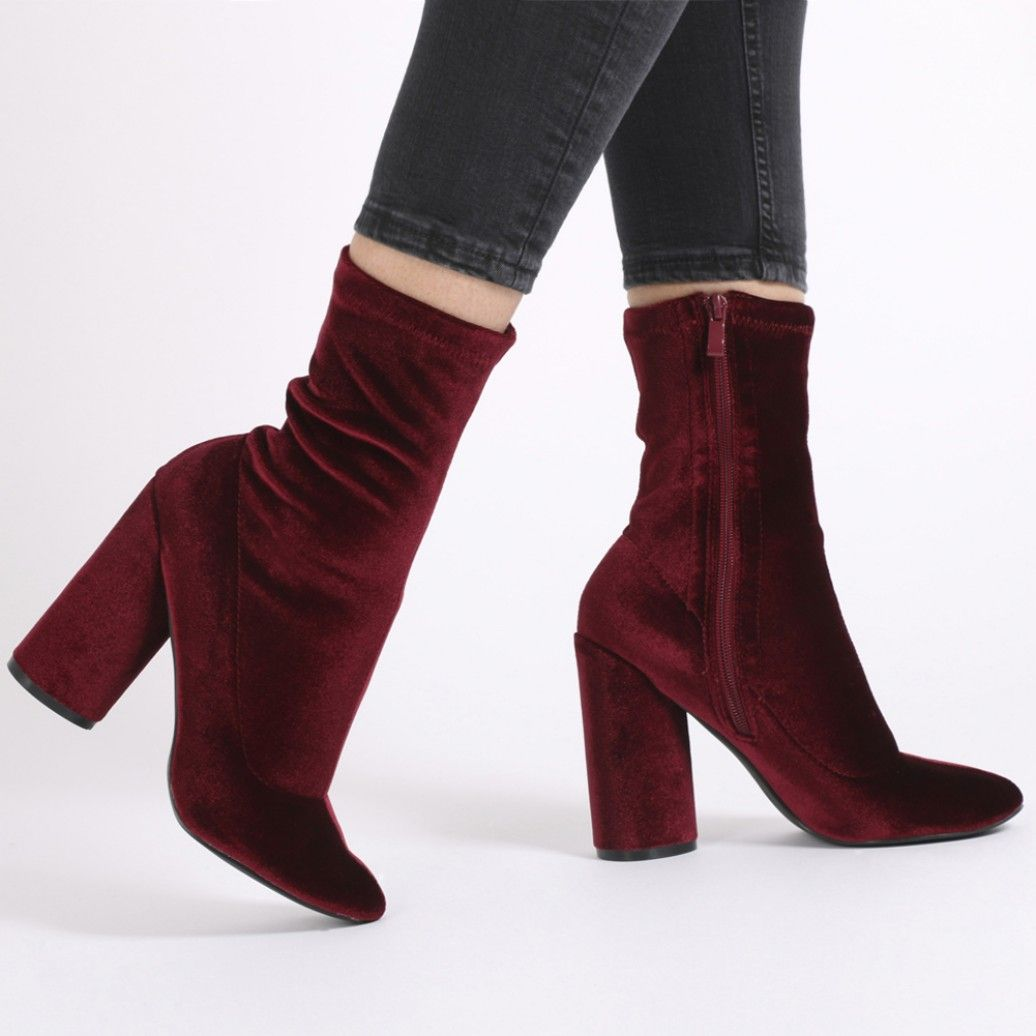 Women's Dressy Round Toe Back Zipper Chunky Mid Heeled Short Ankle High Boots