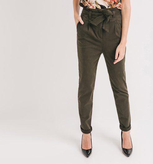 Pantalon paper bag Femme kaki - Promod